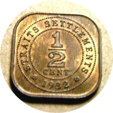 elf Straits Settlements 1/2 Cent 1932 George V