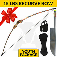 NEW 15 LBS KIDS YOUTH LONGBOW SET IN CAMO ARCHERY APEX HUNTING RECURVE BOW