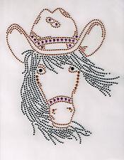 Horse Rhinestone iron on transfer DIY hot fix applique cowgirl hat decoration
