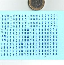 decals decalcomanie  nouveau chiffre et lettre bleu petite taille