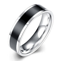 New Silver & Black Titanium Steel 6mm Fashion Plain Band Ring Man Jewelry Gift