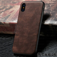 For iPhone X 8/7/6S Plus Leather Back Ultra Thin Slim Hard Hybrid TPU Case Cover