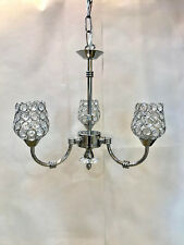 Classic Chrome Halogen Ceiling 3 light Fitting Chandelier Lead Crystal lamp