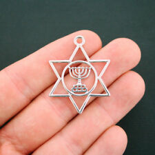 2 Star of David Pendant Charms Antique Silver Tone With Menorah - SC6187