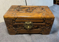 Vintage Detailed Carved Wood Trinket Box Trunk Oriental Chest Made In Hong Kong