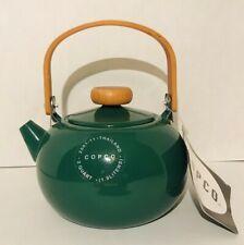 Vintage Copco Tea Pot Kettle Mid Century Modern Design Green Enamel 1998 NOS New