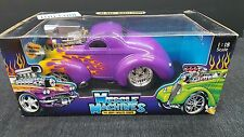 MUSCLE MACHINES 41 WILLYS JEEP PURPLE WITH FLAMES  1/18