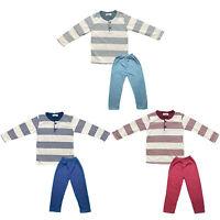 Kids Boys Girls Pyjamas Long Sleeve Top Bottom Set Stripe Winter Warm Fleece