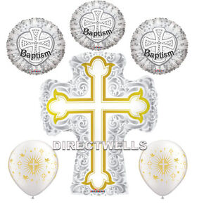 Baptism Gold/Silver Foil / Mylar and Latex Balloons Valued Pack ( 6 Balloons )