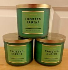 X3 Bath & Body Works FROSTED ALPINE White Barn 3-Wick Candle Large