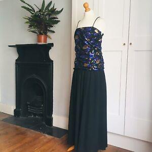 Vtg 80s Black Metallic Purple Gold Leaf Print Ruched Bodice Party Maxi Dress 8
