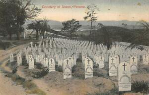 CEMETERY OF ANCON PANAMA GRAVESTONES DATED 1906 IN FOREGROUND POSTCARD (c. 1910)