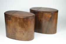 Antique c1800 Georgian Wood Tea Caddy Box Pair UNUSUAL SHAPE