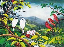 Hand painting Balinese Jalak Bali White Starling Budgerigar 286