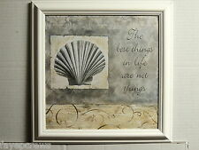 SEASHELL PICTURE VERSE  SCALLOP SEASCAPE BATHROOM FRAMED PRINT 12X12