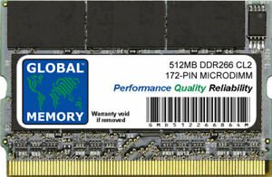 512MB DDR 266MHz PC2100 172-PIN MICRODIMM MEMORY RAM FOR LAPTOPS/NOTEBOOKS