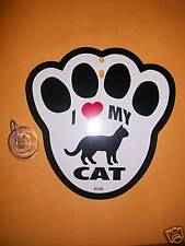 "Paw Print Hanging Window Sign-""I LOVE (Heart) MY CAT"" w/ Suction Cup * New"