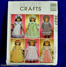 McCalls 3627 18in Doll Clothes Pattern 6 Cute Historical Style Dress Designs NEW