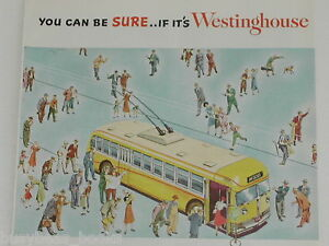 1950 Westinghouse advertisement, ELECTRIC TROLLEY Bus, street car