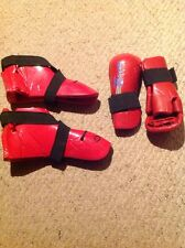 Used Sparring Gloves And Foot Protectors.  Shoes Are 9/10.  Gloves Are M/L.