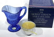 Avon - The Mount Vernon Sauce Pitcher / Fostoria Cobalt Blue Candle Holder *Nib