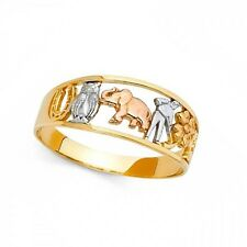 Elephant Owl Horseshoe Clover 13 Charm Ring 14k Yellow Gold Good Luck Band
