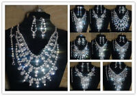 Bridal Wedding Party Prom Jewelry Set Crystal Rhinestones Necklace Rings Earring