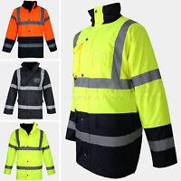 Hi Vis Parka Jacket High Visibility Waterproof Security Zip Padded Work Coat