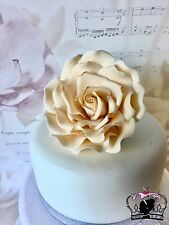 "Ivory, 3,5"" sugar paste rose flower, handmade, cake topper, wedding, edible"