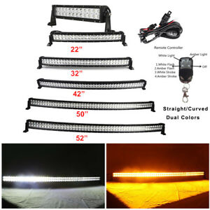 "Amber/White/Strobeflash Offroad Led light Bar 7"" 14"" 22"" 32"" 42"" 50"" 52"" 600W"