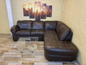 Lovely Compact Brown Leather Corner Sofa