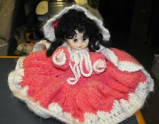 """Vintage Red Riding Hood 14"""" Hand Crocheted Bed Doll"""