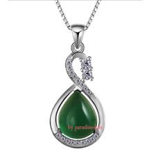 Collana Donna Silver Argento 925 Elegante Zircone Pietra verde A245