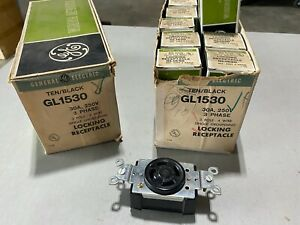 5x GE GL1530 Single Locking Grounding Receptacle 30A 250V 3-Pole 4-Wire, NOS