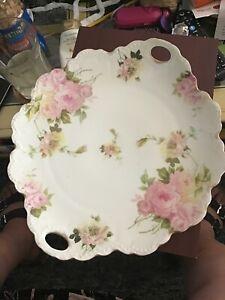 "Antique R C Malmaison Bavaria Pink Foral Seving Platter/Dish w/Handles 12' x 11"""