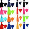 Men's Satin Solid Skinny Wide Tie Necktie Pocket Square Handkerchief Ties Set