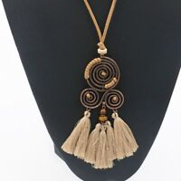Charm Jewelry Long Leather Rope Chain Tassel Pendant Choker Women Necklace