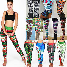 Womens Santa Snowman Christmas Skinny Trousers Leggings Long Pants Jeggings AU