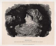"Amazing Francesco Vinea 1800s Antique Woodcut ""Daydreams of a Girl"" SIGNED COA"
