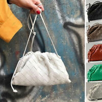 Wide Woven Real Leather Ruched Clutch Pouch Shoulder Bag Crossbody Purse Party