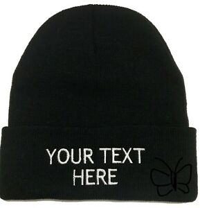 Custom Embroidery Beanie Personalized Embroidered Beanie Knit Cap w/Cuff Black