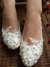 Lace Pearls Bridesmaid Wedding shoes Bridal flats low high heel pump size 5-12