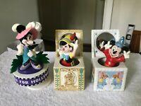 (3) Disney Schmid MIckey mouse, Mini mouse, & Pinocchio music box