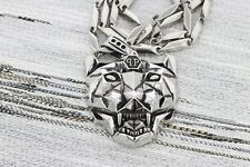 "Men Women Stainless Steel Wolf Lion Tiger Head Pendant 24"" Bullet Chain Set"