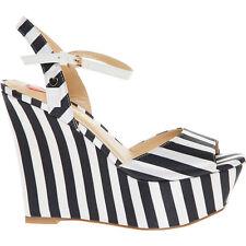 LOVE MOSCHINO Women's Wedged Heels, Black & White Striped, UK 4 / EU 37