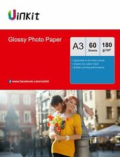 A3 Photo Paper High Glossy  Inkjet Paper Printer 180Gsm - 60 Sheets Uinkit