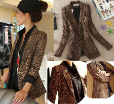 New Women Casual Slim Leopard Print Suit Blazer Jacket Coat One Button Outwear