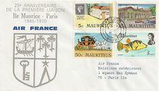 LETTRE 25e ANNIVERSAIRE PREMIERE LIAISON ILE MAURICE - PARIS 1970 AIR FRANCE