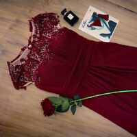 UK Ever-Pretty Cap Sleeve Burgundy Bridesmaid Dress Long Lace Evening Gown 09993