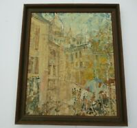OIL PAINTING STREET SCENE IMPRESSIONIST FRENCH? PARIS? REGIONALISM MOD 1960'S